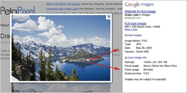 EXIF Data Google Images