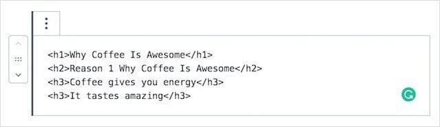H1 Tags WordPress HTML Classic