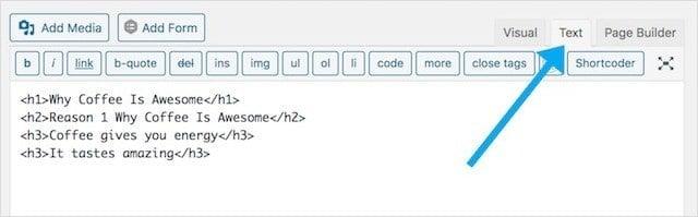 Adding H1 Tags WordPress HTML Block