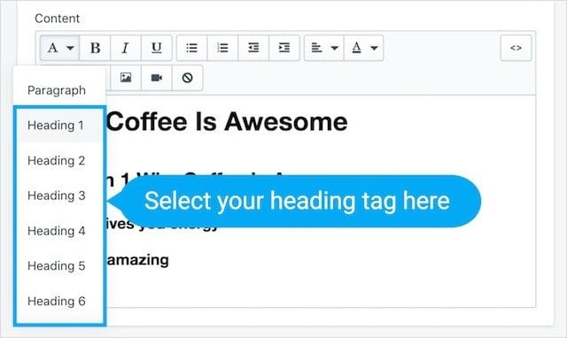 Shopify Heading Tags Formatting