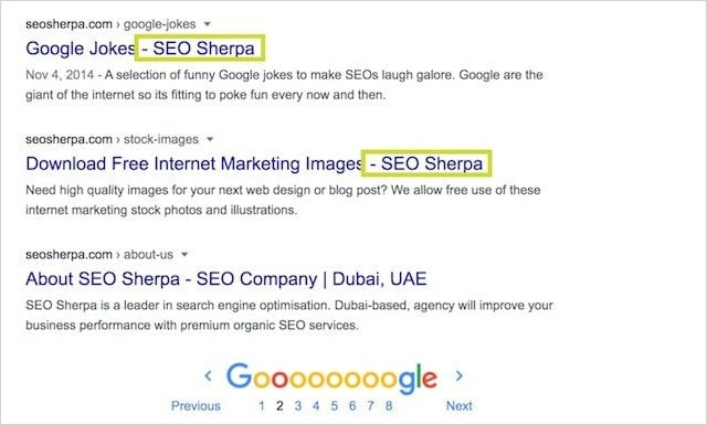Brand in Title Tag SERPS