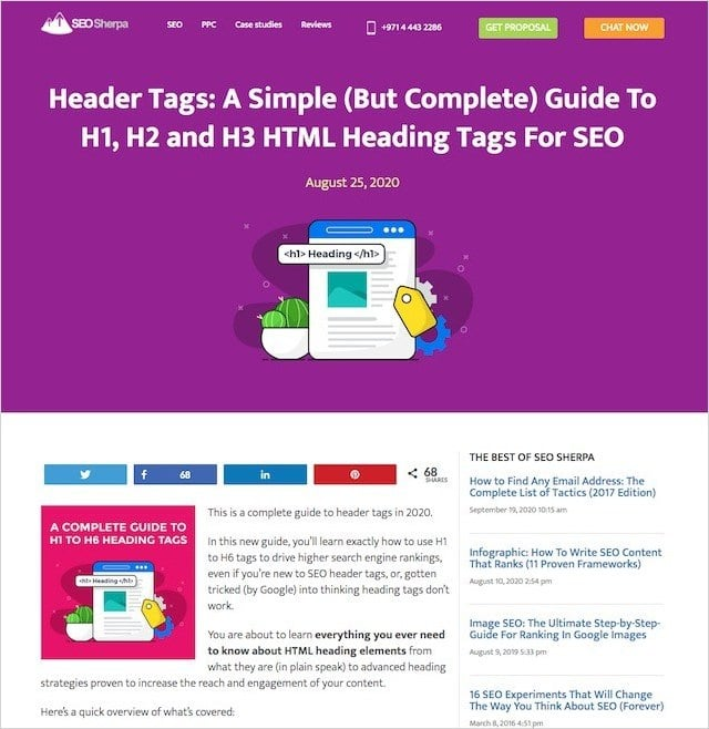 Header Tags Landing Page