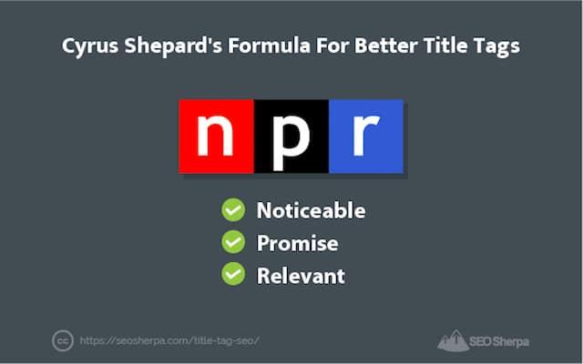 NPR Title Tag Formula Crus Shepard