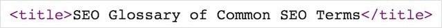 SEO Glossary Page Title