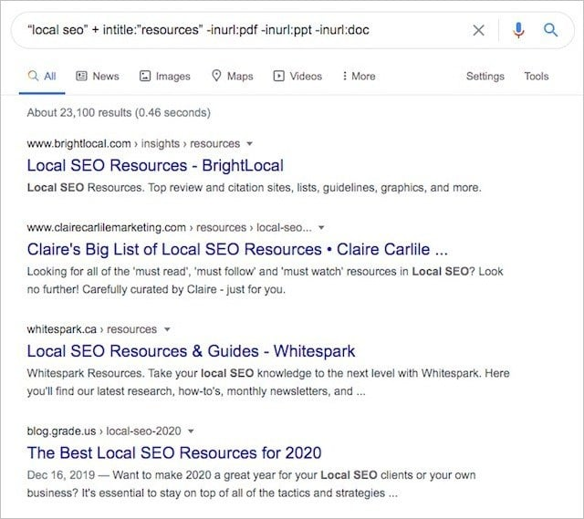 Resource Page Search Operators