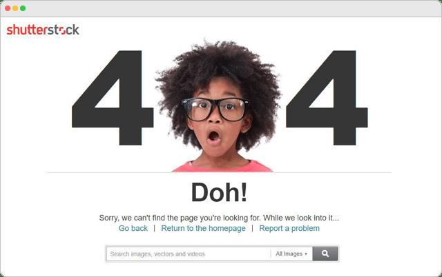 Shuttestock 404 Error Page
