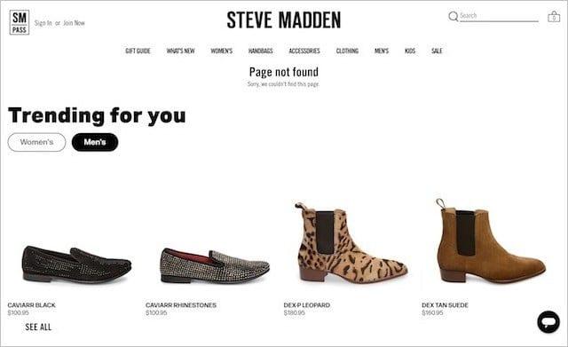 Steve Madden 404 Page
