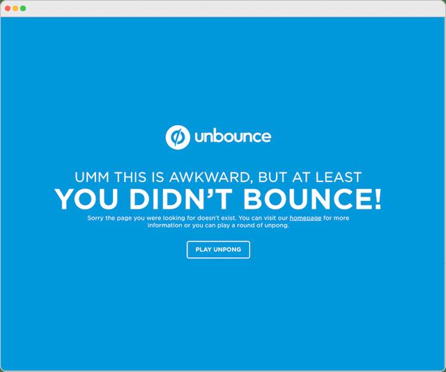 Unbounce 404 Error Page