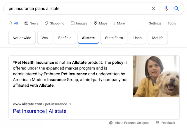 Carousel Featured Snippet Filtered