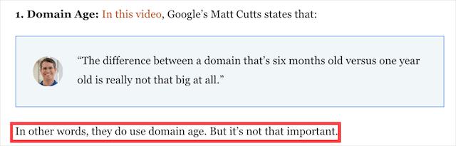 Domain Age Ranking Factor