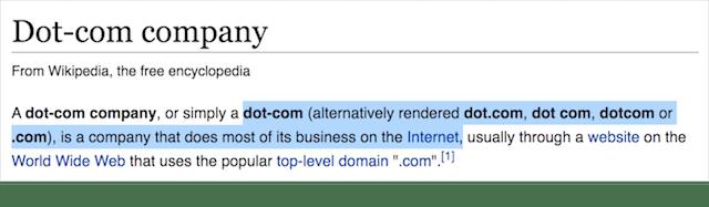Dot com company