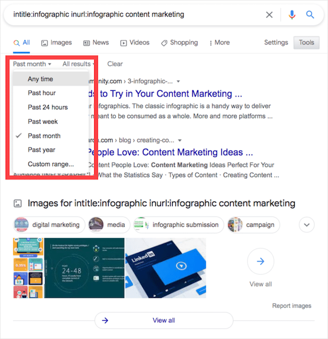 Advanced Search Operator for Infographics