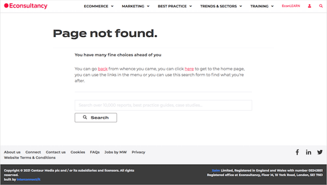 Econsultancy 404 Page