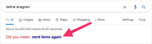 Google Search Trick Define Anagram