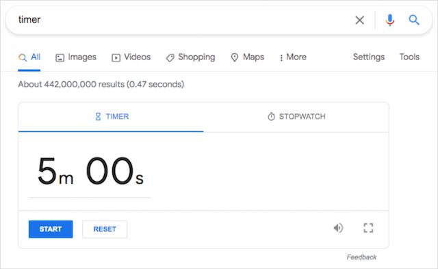 Google Search Trick Timer