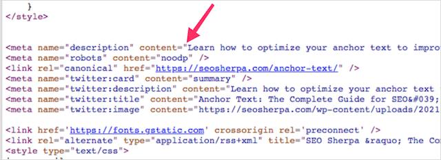 Meta Description code