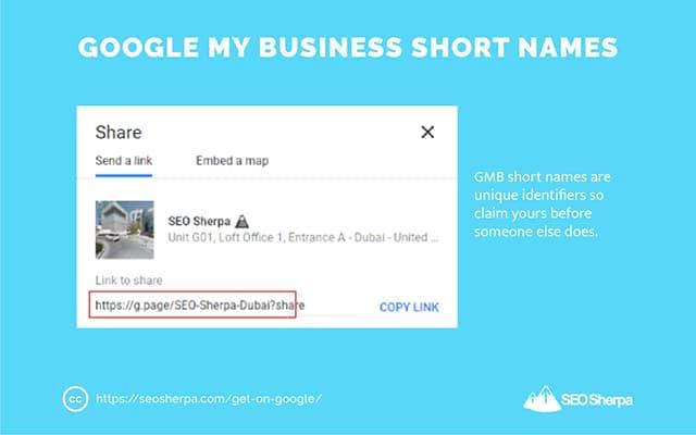 Google My Business Short Names