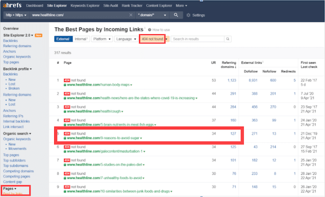 Ahrefs Best by Links 404
