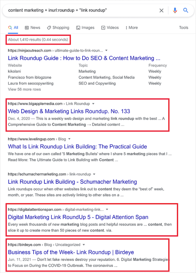 Link Roundup Search Operator