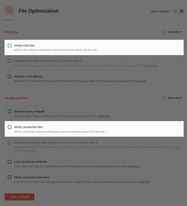 WP Rocket Minify settings